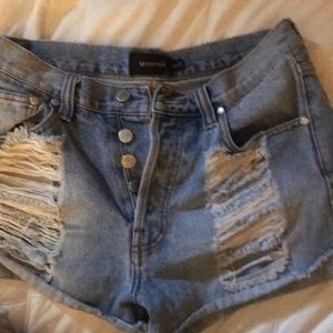 MinkPink denim slasher shorts